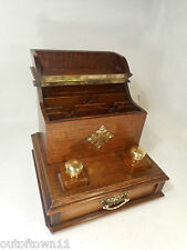 Antique Oak Desktop Writing Stand , inkwell , letter rack  ref 2910