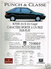 Publicité advertising 1991 Nouvelle Rover 214 Si 16V Coupé