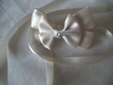 Stunning Ivory/Cream bridal, flower girl diamante Ribbon bow hair clip