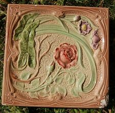French Art Nouveau Depose Antique Stove one square tiles roses majolica
