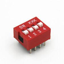 10pcs Rouge DIP Interrupteur 2.54mm 4-Bit 4-Positions Ways DIP Switch