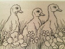 """NEW! Stampendous """"Duckling Trio"""" Wood-Mounted Rubber Stamps"""