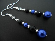 A PAIR OF DANGLY BLUE & BLACK GLASS PEARL  SILVER PLATED EARRINGS.