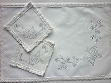 Embroidery traced embroider Dressing Table Chewal Set Butterfly cotton CSOO88