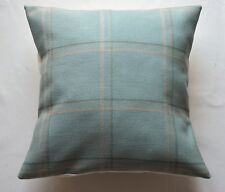 "16"" Laura Ashley 'Corby Check' Duck Egg fabric cushion cover"