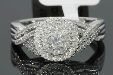 10K WHITE GOLD .66 CARAT WOMENS REAL DIAMOND BRIDAL WEDDING RING ENGAGEMENT RING