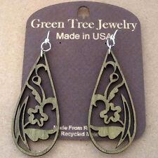FLORAL TEAR DROP laser-cut wood earrings, by Green Tree Jewelry APPLE GREEN 1243