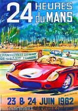 1962 24 Hours Le Mans French Automobile Race Advertisement Vintage Poster