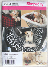 SEWING PATTERNS S2984 DOG CAR SEAT SHOPPING COVERS TOYS TRAVEL ACCESSORIES NEW