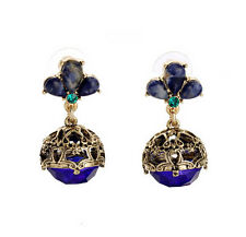 NEW Signature Anthropolo€‹gie Victorian Royal Blue Strobe Gold Earrings