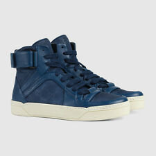 NIB Gucci Mens Blue Nylon Guccissima Leather high-top sneakers shoes 11.5
