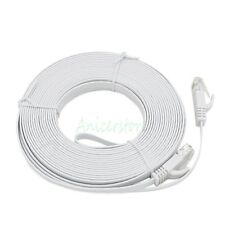 Ultra-Thin 20M 65ft CAT6 RJ45 Ethernet Network LAN Internet Cable Flat UTP White