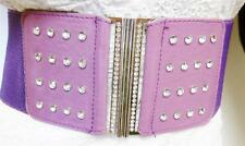 FASHIONABLE WIDE PURPLE WOMEN ELASTIC BELT WITH STONE-STUDDED DESIGN SIZE S M L