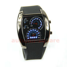 Men Blue Hot Fashion Flash LED RPM Turbo Sports Car Meter Dial Wristwatch Watch