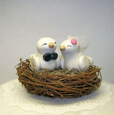 Nest Wedding Cake Topper Birds - Custom Made - Shown in White/Ivory, Pink Coral