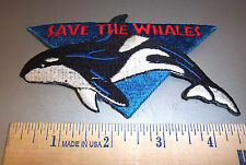 Save the Whales embroidered iron on patch beautiful Orca killer whale nice!