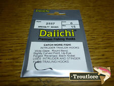 15 x DAIICHI 2557 #6 INTRUDER TRAILER HOOKS BLACK NICKEL - NEW FLY TYING HOOK