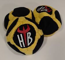 "Hellbender ""CUBE"" 18 Panel SAND Filled Microsuede HackySack Footbag Black&Yellow"