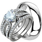 His & Hers 4 Pcs Mens TITANIUM & Womens STAINLESS STEEL Wedding Band Ring Set CZ