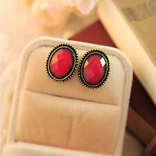 Women Fashion Jewelry Vintage Style Big Rhinestone Elliptic Earrings Ear Stud