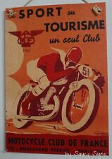 Motorcycle Tourism France Vintage Retro French Advertising Poster on Wood Sign
