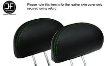 GREEN STITCH 2X REAR HEADREST LEATHER COVERS FITS HONDA CIVIC & TYPE R 01-05