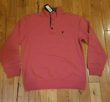 NWT Mens Saltwater Red IZOD 1/4 button front pullover sweater shirt size L $60