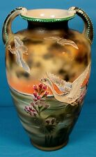 "JAPANESE TAISHO PERIOD MORIAGE SATSUMA POTTERY ""BIRDS IN FLIGHT AT SUNSET"" VASE"