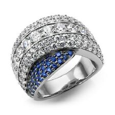 JEAN DOUSSET ABSOLUTE CREATED SAPPHIRE OVERLAY SILVER RING SIZE 6 HSN $129.95
