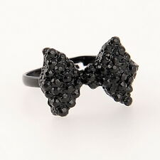Adjustable Black Sweet Bowknot Bow Tie Charming Rhinestone Crystal Ring