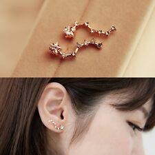 Korean Womens Star Big Dipper Gold Plated Crystal Earrings Ear Stud Jewelry Gift