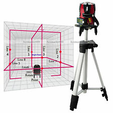 8 line Rotary Laser Beam Self Leveling Interior Exterior horizontal Laser Tripod