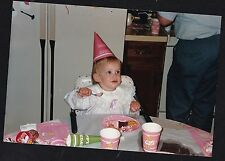 Vintage Photograph Cute Little Girl Wearing Party Hat & Eating Birthday Cake