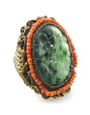 Vintage 1930s 40s Chinese Handmade Genuine Jade & Coral Beads RING Size 10
