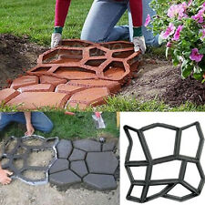 Black Patio Driveway Concrete Stepping Stone Path Maker Paving Pavement DIY Mold