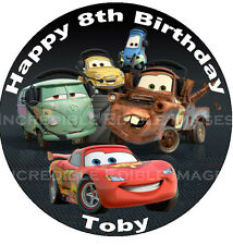 19cm Round Cars Lightning McQueen ICING Edible Cake Topper Party Decoration