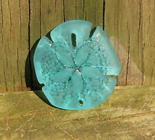 Large Sea Glass Sand Dollar Pendant Bead TURQUOISE BAY 40 x 36 mm.