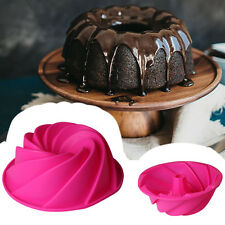 Large Spiral Shaped Bundt Cake Pan Bread Bakeware Silicone Mold DIY Baking Tools