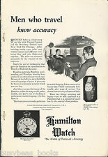 1924 HAMILTON WATCH advertisement, business men on train, porter, steam engine