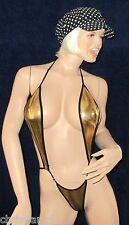 sexy Glanz Stringbody, wetlook Gold metallic String Body, glänzend, Neu Gr S M L