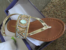 NEW  MADDEN GIRL RAIVE GOLD  RHINESTONE BEADED STRAPPY SANDALS WOMENS 8 FLATS