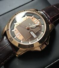 Mens Bulova Watch C9342134 Day Date Rose Gold Pvd Stainless Steel Brown