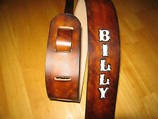CUSTOM MADE LEATHER ANTIQUE BROWN GUITAR STRAP WITH YOUR NAME WHITE LETTERS