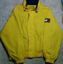 VTG 90s tommy hilfiger sailing jacket flag spell out fleece lined yellow size XL