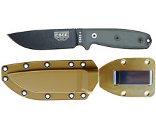 ESEE Knives Model 4 Plain Edge Knife (Black) + Coyote Sheath & Belt Clip Plate
