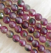 Natural 6mm Faceted Multicolor Tourmaline Round Gems Loose Beads 15''
