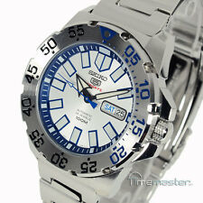 MEN'S SEIKO 5 SPORTS ICE MONSTER AUTO SILVER FACE STAINLESS STEEL BEZEL SRP481K1