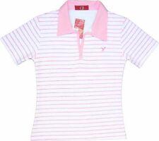 Sexy Ladies Tokyo Polo Stripe White Pink Womens Tshirt T-Shirt 10-12 Medium New