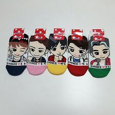 SHINEE : Womens Cotton Ankle Casual Multi Color Kpop Socks, 5 Pairs Set Size 6-9