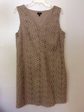 9404) TALBOTS eyelet floral beige sheath career casual sleeveless dress 14P